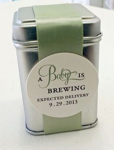 What better way to celebrate the arrival of a new baby then with these A Baby is Brewing tea tin favors. These little tins of comfort make unique favors for baby showers and parties or just small tokens of warmth for friends and family. Favors come with a wonderful loose leaf Fruit Mint decaf tea. The tins are about 1.75 x 2.5 tall and perfect size to hold a full brewed pot. Please read further for information on how to order A Baby is Brewing favors from Idea Chic This listing is for…