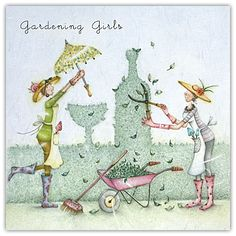 Gardening Girls Berni Parker Designs Card - £2.95 - FREE UK Delivery! Make Your Purchase : http://www.pippins.co.uk/gardening-girls-birthday-card-berni-parker-designs.html
