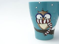 Mug decorated by hand with a cute chilly owl who wears only the red&white striped scarf. Isnt it adorable?     owl mug / christmas mug / snow mug /