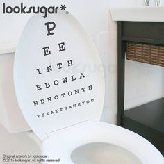 Eye Chart Decal - Bathroom Wall Sticker - Perfect for Toliet Seat Cover - Snellen Chart Optometry Humor, Optometry Office, Bathroom Wall Stickers, Wall Decals, Wall Art, Eye Chart, Sweet Home, Cool Stuff, Funny Stuff