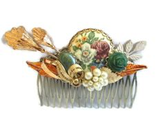 Autumn Wedding Hair Comb Jeweled Bridal Hairpiece  by PlumePretty,