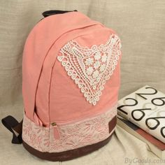 Fashion College Style Triangle Lace Canvas Backpack