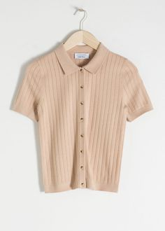 Eyelet Knit Polo Top - Dusty Pink - Tops - & Other Stories Polo Shirt Outfits, Trouser Outfits, Casual Outfits, Cute Outfits, Fashion Outfits, Wide Trousers, Look Vintage, Fashion Story, S Models