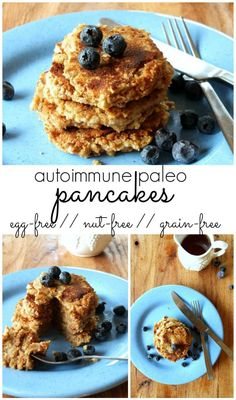 Paleo AIP Vegan Blueberry Pancakes from Flash Fiction Kitchen (sub applesauce or canned pumpkin for the bananas) Paleo Dessert, Healthy Desserts, Healthy Food, Healthy Eating, Yummy Food, Paleo Breakfast, Breakfast Recipes, Free Breakfast, Breakfast Casserole