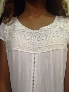 Lace insert white top