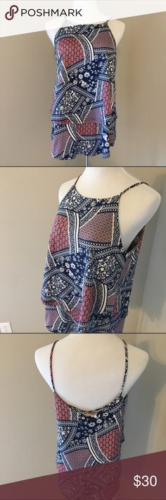 Tiered Printed Tank Open, strappy back. In excellent used condition. Material has great stretch and is super soft, Measurements only by request. emmelee Tops Tank Tops