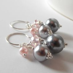 Pink and Gray Bridesmaid Jewelry Bead Cluster Earrings Crystal and Pearl Cluster Dangles Grey and Pink Wedding Jewelry Sets Bridesmaid Gift
