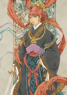 Why Are There so Many Redhead Fantasy Anime Heroines? Old Anime, Anime Guys, Manga Anime, Anime Art, The Twelve Kingdoms, Character Art, Character Design, Armadura Medieval, Top 5