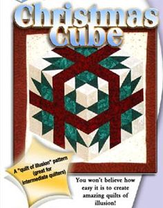 Christmas Cube with Templates Pattern by Karen Combs at KayeWood.com. Christmas Cube This amazing star quilt has a wonderful illusion of depth. However, don't let the illusion scare you, this quilt is very easy to make with Karen's rotary templates. Patttern includes rotary cutting instructions, templates, sewing information, and full color piecing diagrams. http://www.kayewood.com/item/Christmas_Cube_with_Templates_Pattern/2547 $14.00