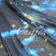 Stars Space fabric Black Chiffon Fabric by the yard Chiffon Fabric, Blue Fabric, Invite, Invitations, Space Fabric, Online Gifts, Blue Fashion, Gifts For Women, Unique Gifts