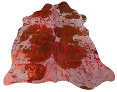Red Metallic Cowhide Size: 5' X 5' Red Metallic on Brown & White Skin Rug M-160 #CowhidesUSA #Contemporary
