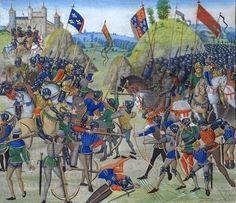 Riassunto sulle tecniche di combattimento nel 300, che mette in evidenza l'arco lungo e la balestra, utilizzate durante la guerra dei cento anni, rispettivamente dagli inglesi e dai francesi.  Nell'immagine la battaglia di Crècy (1346) in Francia, dove vengono utilizzati archi (a destra) e balestre (a sinistra).