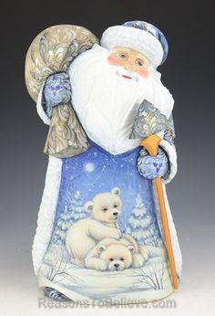 Winter Blue Santa with Polar Bear Cubs