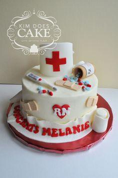 Cake for a nursing school graduate. Buttercream with fondant/ gum...