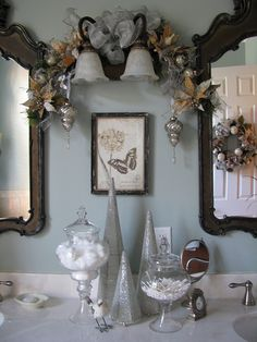 Decorating the bathrooms for christmas on pinterest for Blue and silver bathroom ideas