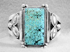 Old Harry Morgan Bracelet Turquoise Spiderweb Navajo Sterling Silver Men Women