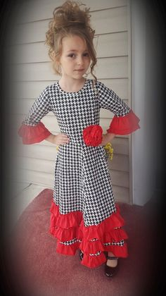 *New Holiday Design! Girls Houndstooth and Red Ruffle Maxi Dress Sizes