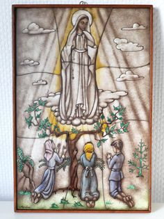 Opaline Glass Icon Our Lady of Fatima, Art Deco Handcrafted Stained Glass Icon, Van Paridon Christian Catholic Wall Decor Catholic Art, Roman Catholic, Religious Art, Lady Of Fatima, Praying The Rosary, Church Banners, Glass Artwork, Blessed Virgin Mary, Spiritual Gifts