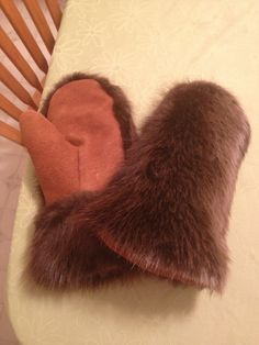 Beaver mitts with tanned moose hide.