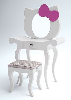 Tocador Y Banco   Hello Kitty Vanity With Mirror U0026 Stool And Like OMG! Get  Some Yourself Some Pawtastic Adorable Cat Shirts, Cat Socks, And Other Cat  ...