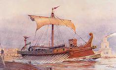 Roman trireme galley ship.