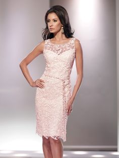 Social Occasions by Mon Cheri - 114813 - Sleeveless lace over chiffon knee-length sheath, sheer lace scoop neckline trimmed with hand-beading over a sweetheart bodice, beaded self-tie belt with tassels, center back slit, suitable as a cocktail dress to wear to a wedding. Matching shawl included.Sizes: 4 – 20Color: Blush