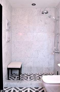one room challenge christine dovey bathroom wayfair bench carrera marble bathroom shower black and white pattern tiles on floor obsessed!