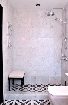 one room challenge christine dovey bathroom wayfair bench carrera marble bathroom shower black and white pattern tiles on floor obsessed!