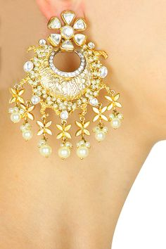 Gold finish crystal and pearl drops chandbali earrings available only at Pernia's Pop-Up Shop.