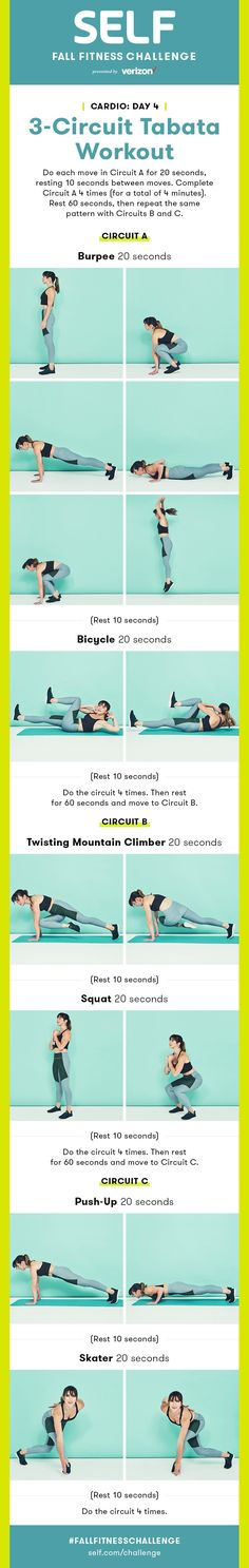 Tabata workout with three circuits - motivation to be healthy - Fat Burning Workout Guide, Workout Challenge, Tabata Workouts, Hiit, High Intensity Interval Training, Healthy Exercise, I Can Do It, Fat Burning Workout, Fitness Motivation Quotes