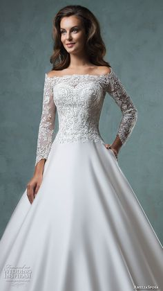 eve of milady boutique fall 2015 long sleeves bateau neckline illusion sheer lace corset bodice tulle organza a  line ball gown wedding dress 1547
