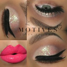 Valentine's Day Makeup Ideas: White Glitter Smokey Eyes with Hot Pink Lips | The Amazing World of J