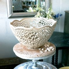 I want to own one of these hand-carved bowls by Isabelle Abramson one day. That means the scluptor cut out every single one of those lacy holes by hand. Labor of love. New medium-sized carved porcelain bowl in the works…Isabelle Abramson Ceramics