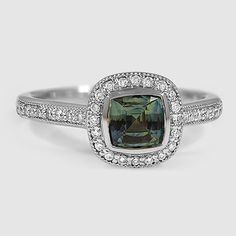 Platinum Sapphire Fancy Bezel Halo Diamond Ring with Side Stones // Set with a 6mm Cushion Green Sapphire