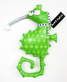 RESERVED LISTING for HilarY1010 ... Seahorse named Standing Ovation ...WhimsicaL WaLL ArT ... lime green polka dots