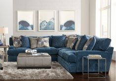 Cindy Crawford Home Beverlywood Navy 3 Pc Sectional - Living Room Sets (Blue) Living Room Sets Furniture, Blue Sectional, Blue Sofas Living Room, Sectional Living Room Sets, Living Room Color, Blue Living Room, Living Room Grey, Luxury Living Room, Living Room Sectional