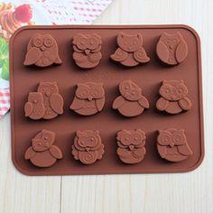 Stylish Owl Shape Food Grade Silicon Multi-Function Chocolate Cube Mold $3.03