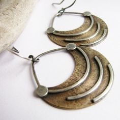 Mixed Metal Earrings - Fertile Crescent Ethnic Sterling Silver And Bronze Earrings - Tribal Inspired Artisan Jewelry