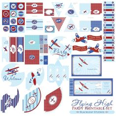 Flying High Airplanes Baby Shower or Birthday by blackleafdesign, $30.00