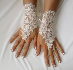 Ivory sequined lace wedding gloves bridal gloves by WeddingGood
