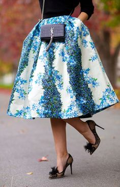 White And Blue Delicate Floral Full Pleated Midi Skirt by Late Afternoon