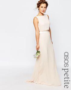 TFNC Petite WEDDING Sateen Bow Back Maxi Dress
