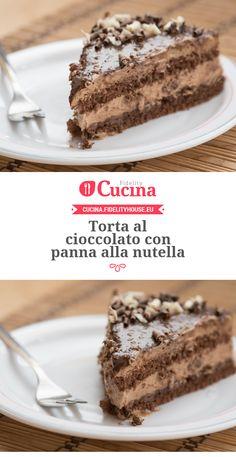 Chocolate cake with nutella cream - Nutella Chocolate Cake, Chocolate World, Chocolate Desserts, Chocolate Cream, Sweet Recipes, Cake Recipes, Dessert Recipes, Italian Cookie Recipes, Nutella Recipes