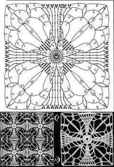 Crochet patterns Crochet Blocks, Crochet Squares, Crochet Granny, Crochet Motif, Crochet Doilies, Crochet Flowers, Knit Crochet, Thread Crochet, Crochet Stitches