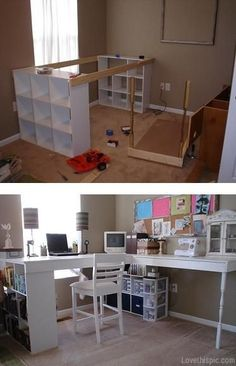 DIY Desk with cubby holes. Great for a craft room.