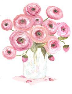 Original Ranunculus Watercolor Floral Vase by KenziesCottage