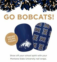Licensed nail art to show off you school spirit! Montana State University #basketball #marchmadness #football Go Bobcats