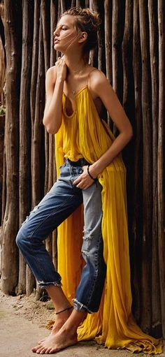 Yellow And Denim Boho Style by Seams For a Desire