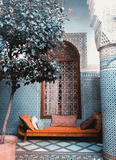 moroccan blue wall + burnt orange bench.