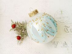 Christmas Ornament glass ball holiday bauble by SilverOwlStudio